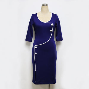 Vintage Deep O Neck Bodycon  Pencil Sheath Dress