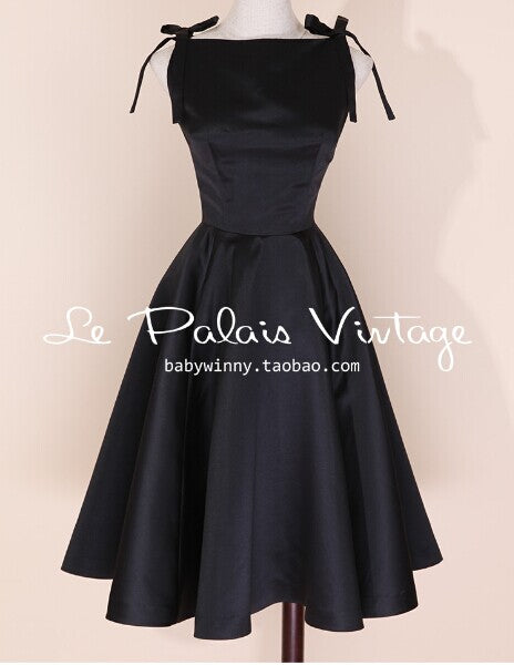 Elegant Vintage Silk High Waist Black Dress
