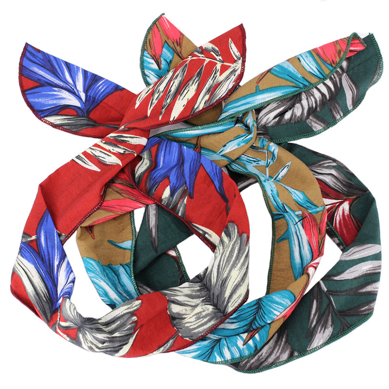 Leaf Print Wire Headband Pinup Vintage Style 50s Rockabilly Head Wrap Scarf wide 7cm Bandana Ladies Hair Accessories