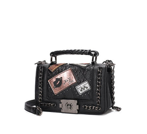 MINCH Fashion Design Women PU Leather Bag Chain Shoulder Bags Patchwork Female Messenger Bags Punk Style Ladies Crossbody Bags