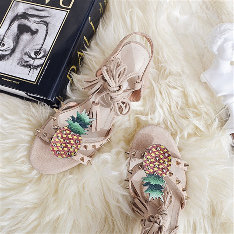 Riveted Summer Apricot and Pineapple Lace-Up Pumps