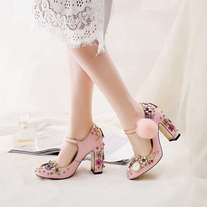 Rhinestone Horologe Design Vintage Pumps