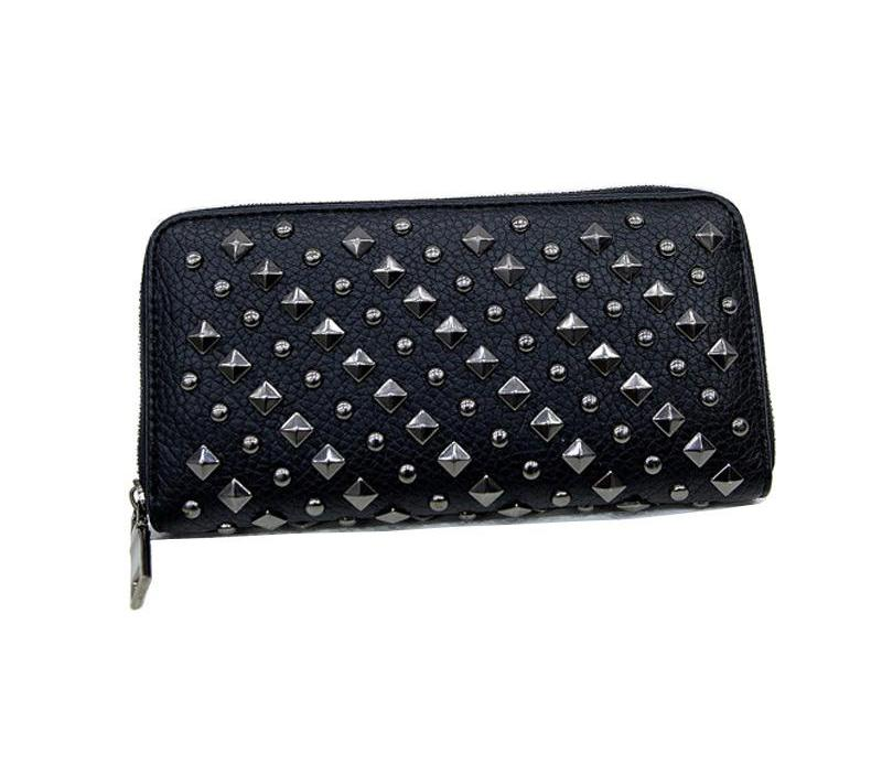 Rivet Punk Style Faux Leather Wallet