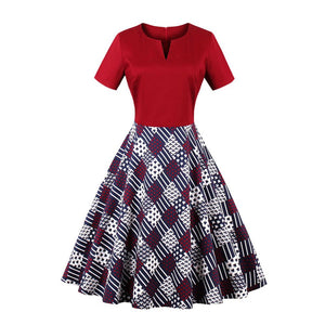 Womens Vintage Plaid V-neck Hepburn Style Knee-Length Dress