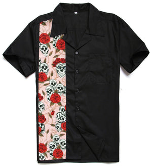 Men's Hawaiian Nude Girl Printing Panel Rock N Roll Charley Harper Inspired Shirt