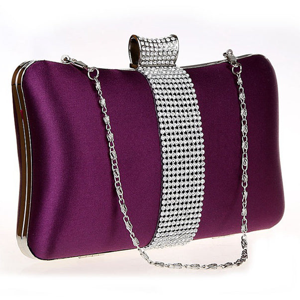 Messenger Women Bag Rhinestones Mixed Color Metal Day Clutches Evening Bags Satin Material Punk Style Lady Summer Bag/Purse