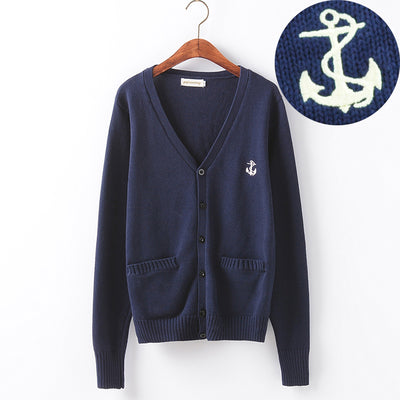 Multiple Patch Styles Knitted Cotton Sweater Cardigan