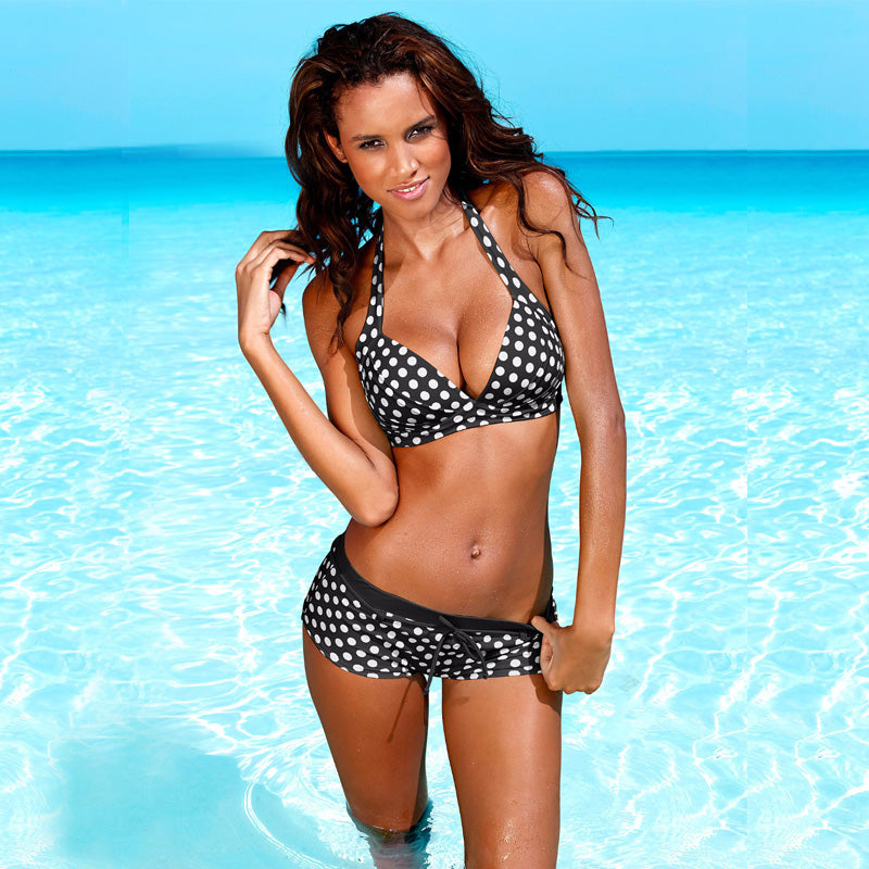 Polka Dot Halter Bikini Short Bathing Suit