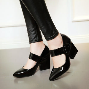 Vintage Pleated Chunky Heels Round Toes