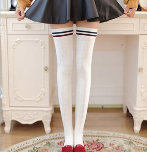 Striped Knee Socks Thigh High