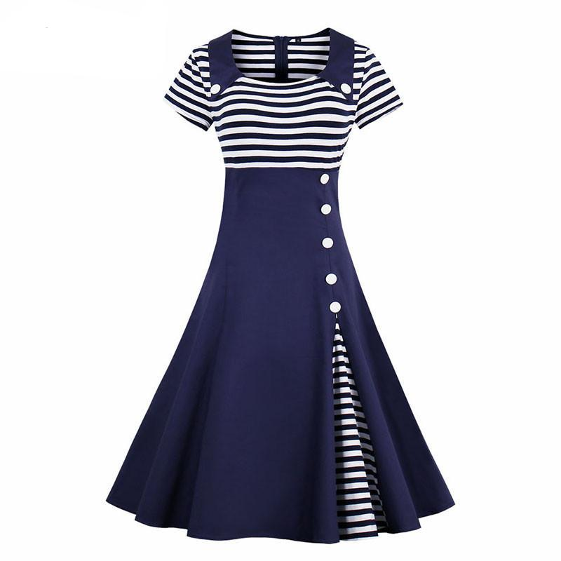 Womens Short Sleeve A-line Vintage Striped Knee Length Rockabilly Dress