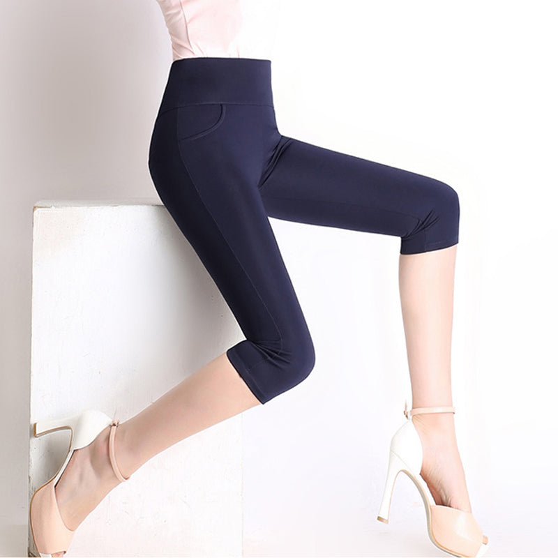 Female Stretch High Waist Cotton Casual Pants