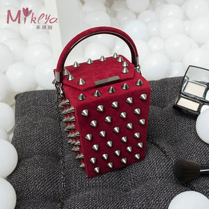 Punk Style Handbag with Rivets
