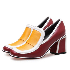 Vintage Mixed Colors Square Toe Pumps