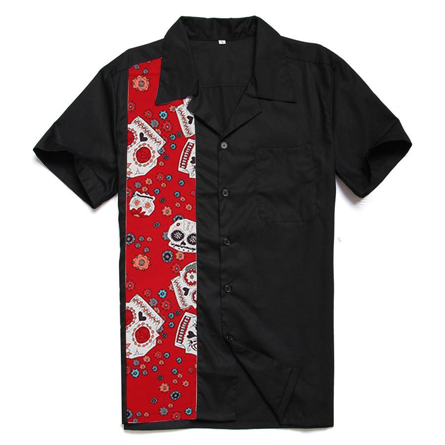 Men's Red Skulls Printed Panel Rock N Roll Vintage Style Rockabilly Shirt