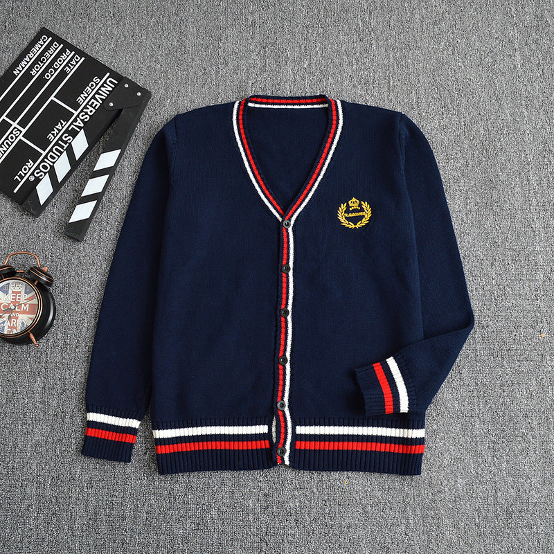 Dark Blue and Red Knitted Cotton Cardigan Uniform