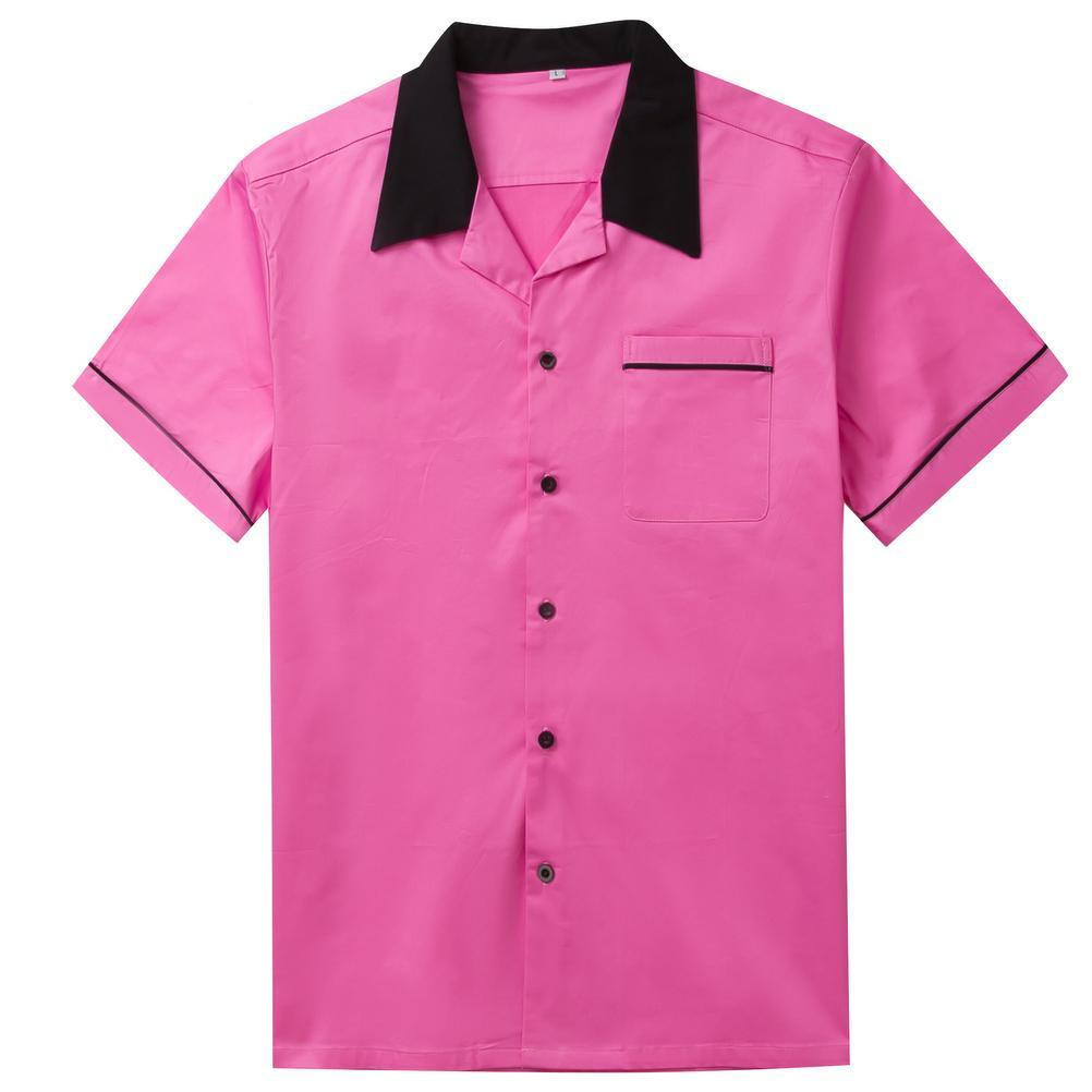Men's Casual Short Sleeve in Black Turn Down Collar