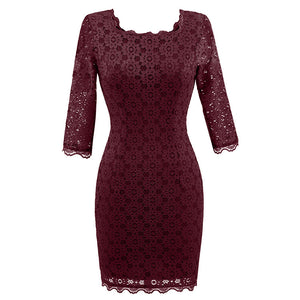 New Floral Crochet Evening Party Dress Women Autumn Vintage Rockabilly Dresses Lace V Back Sheath Pencil Dress Z3D32