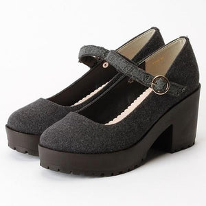 Lace Vintage Shoes Boat-Botton Japanese Style