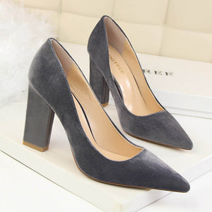 Vintage Pointed Toe Flock High Heels