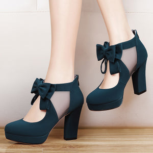 Vintage Bow Platform Sexy High Heeled Shoes
