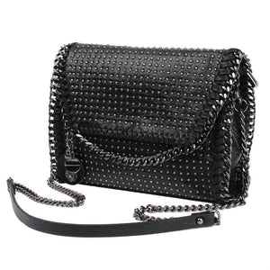 Black Punk Rock Rivet Tassel Messenger Crossbody Handbag