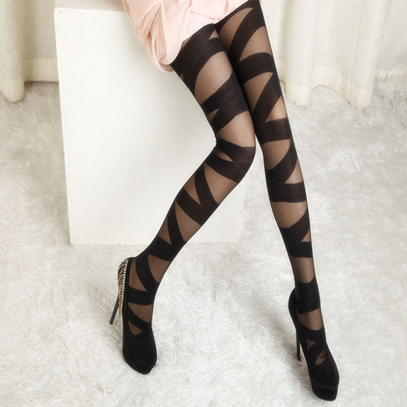 New Stylish Fashion Women Sexy Pantyhose Black Ripped Stretch Vintage Tights Mock Stocking Accessory Good Quality Free Shipping