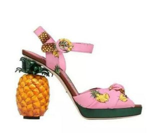 Ladies Pink Pineapple High Heel Platform Sandals