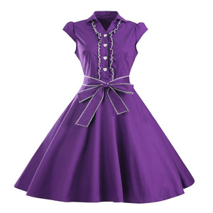 Vintage Big Sashes Rockabilly Dress