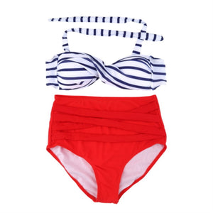 Red White Blue Bandage Vintage High Waist Bikini