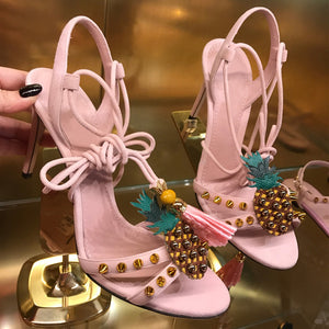 Pink Embroidery Pineapple Tassel High Heel Sandals