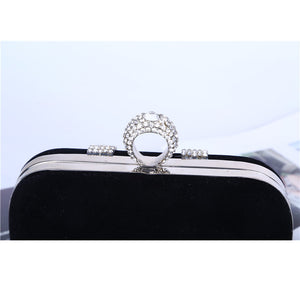 New punk finger rings rhinestones evening bags clutch purse evening women bags wedding with chain shoulder bag