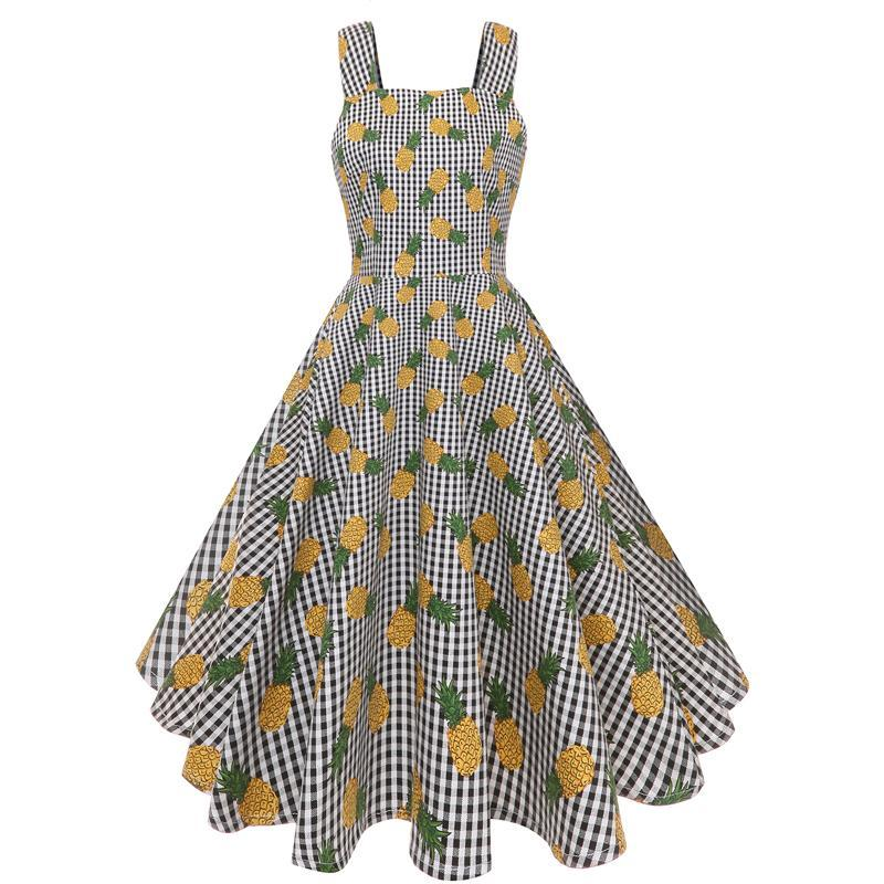 Womens Sleeveless Ice Cream Butterfly Pineapple Rockabilly Dress