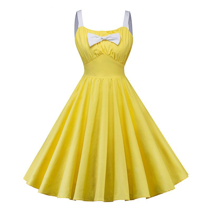 Womens O-neck Spaghetti Strap Vintage Rockabilly A-line Dress