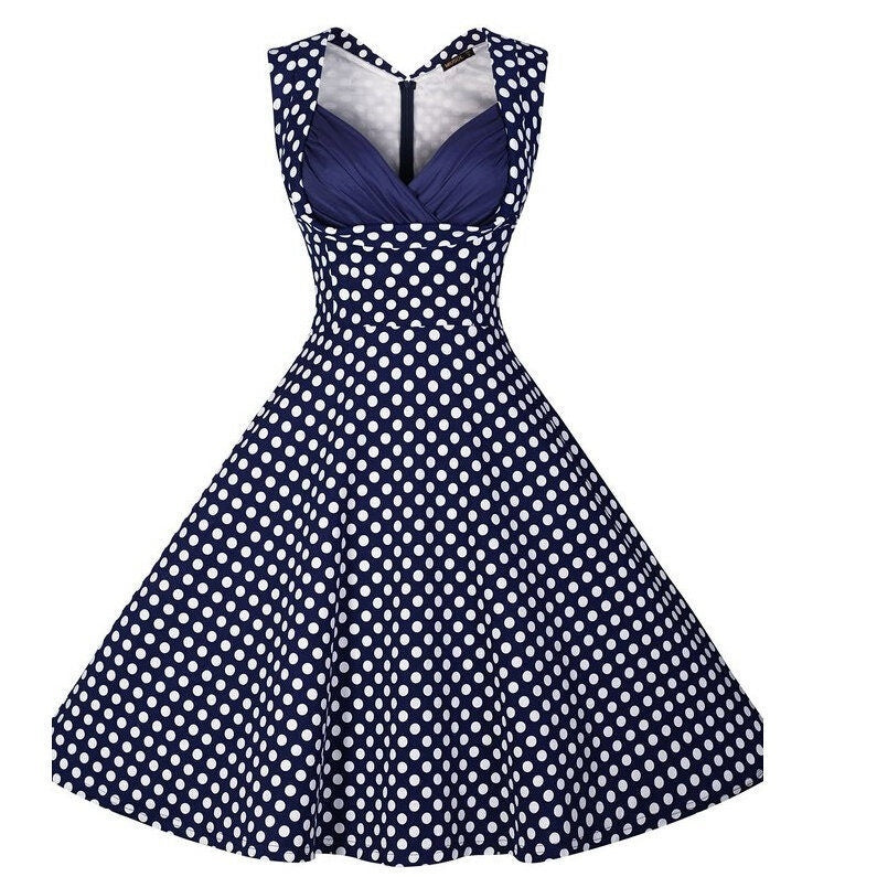 Womens Summer Vintage Style Polka Dot Rockabilly Pin Up Midi Dress