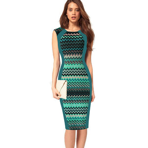 Flowers and Stripe Print Sheath Bodycon Pencil Dress