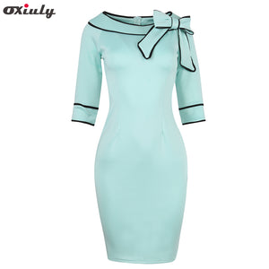 Oxiuly Womens Summer Brief Elegant Slash-Neck Bow Pinup Casual Office Wear Business Party Sheath Work Pencil Dress
