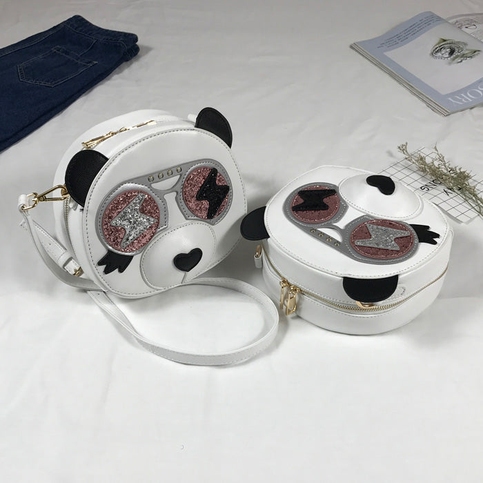 Punk White Round Panda Crossbody Bag