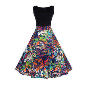 Vintage Sexy Summer Floral Pin Up Dress with 1950s Sleeveless Rockabilly V-neck