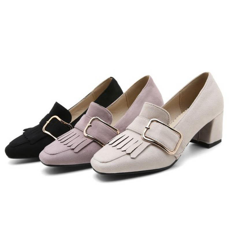 Vintage Tassel Women Square High Heel Shoes