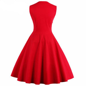 Womens Audrey Hepburn Style Sleeveless 50s Vintage Rockabilly Dress