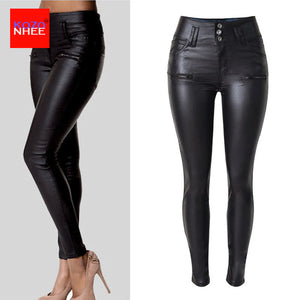 Plus Size High Waist Leather Leggings