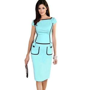 Gorgeous Womens Square Neck Sleeveless Formal Business Bodycon Vintage Pencil Midi Dress