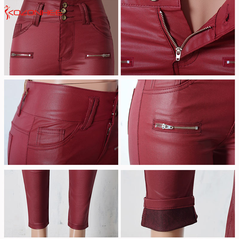 Red Wine High Waist Skinny Pants