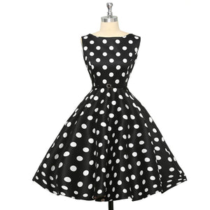 1960s Black Polka Dot Summer Vintage Swing Dress