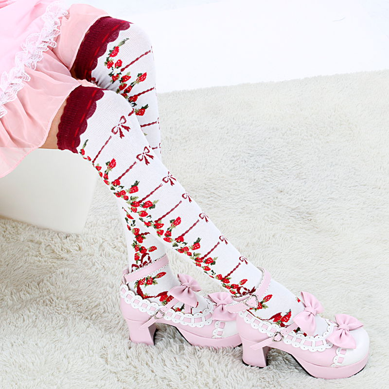 Vintage Strawberry Over-the-Knee Cotton Socks