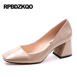 Black Vintage Patent Square Toe Pumps
