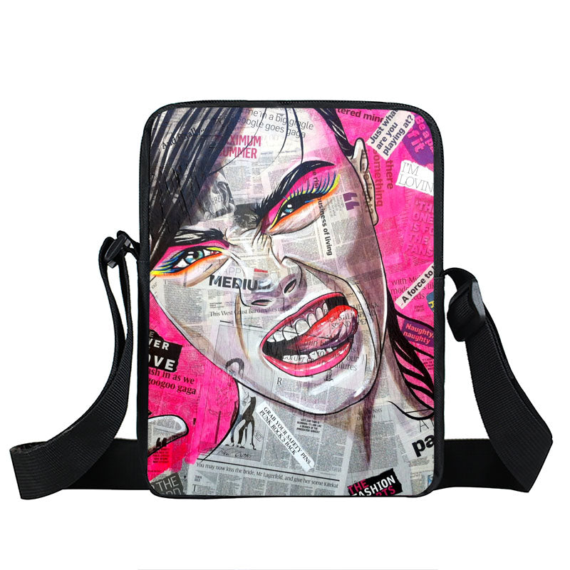 Punk Women Crossover Color Cartoon Printed Nylon Messenger Bag and Handbag