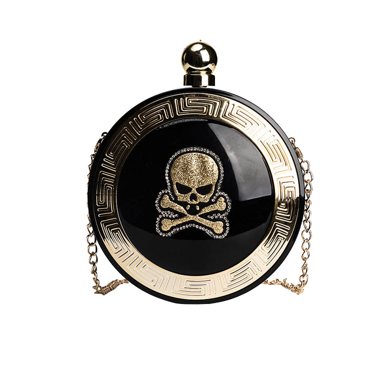 Punk Fashion Skull Head Round Chain Bag
