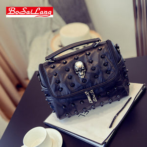 Genuine Leather Punk Skull Handbag